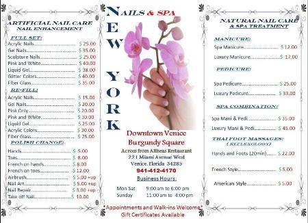 Nail salon nails new york nails venice fl for Acrylic nail prices at a salon